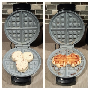 cinnamon rolls in the  waffle maker - Mrs. Dessert Monster