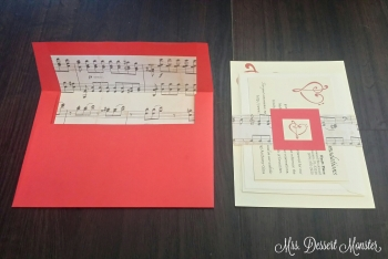 Red Cream Sheet Music Belly Band Wedding Invitation