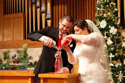 Sand Ceremony Christmas Red Wedding