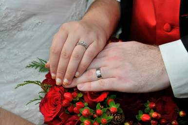 Christmas Red Wedding Rings