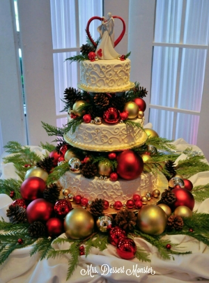 Christmas Wedding Cake - Mrs. Dessert Monster