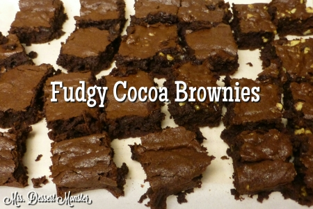 Fudgy Cocoa Brownies - Mrs. Dessert Monster
