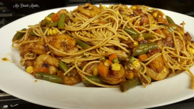 Blackened Shrimp Pasta with Corn & Mixed Veggies - Mrs. Dessert Monster