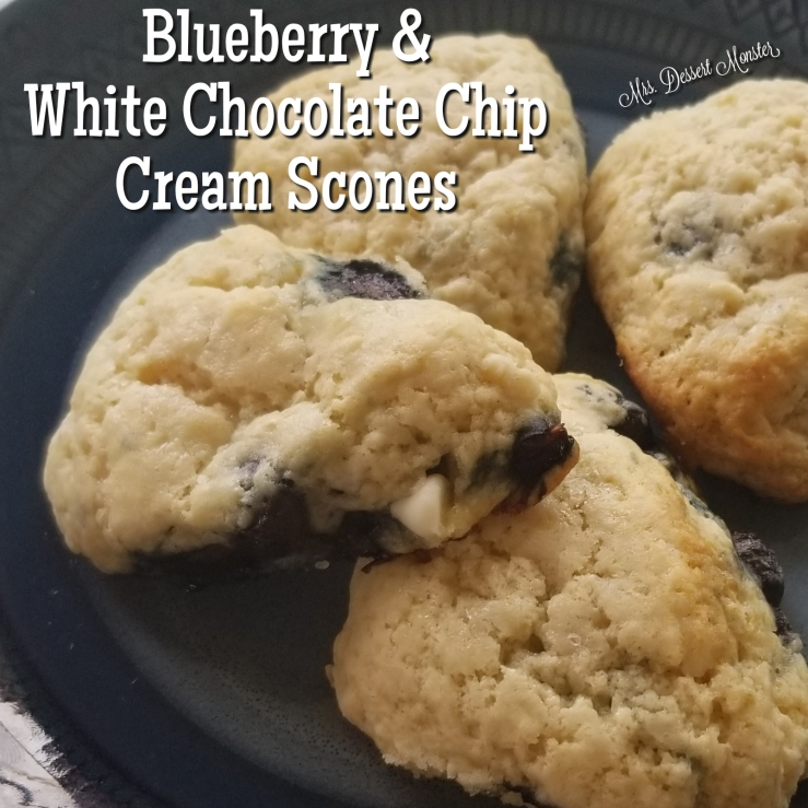 Blueberry & White Chocolate Chip Cream Scones - Mrs. Dessert Monster