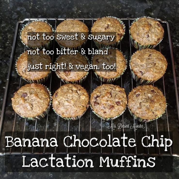 Banana Chocolate Chip Lactation Muffins - Mrs. Dessert Monster