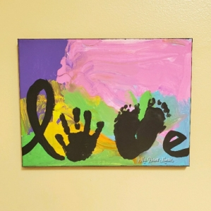 Hand & Footprint Canvas Craft - Mrs. Dessert Monster paint